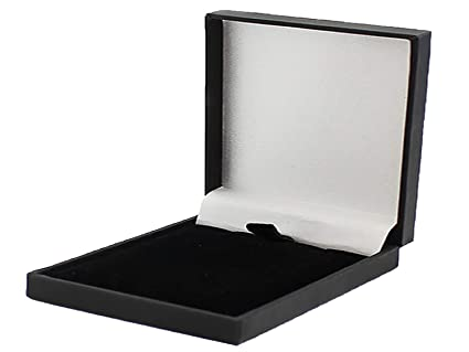 Slim Leatherette Jewellery Gift Box Satin Lined For Necklace Pendant Economical To Post Black