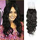 ShowCoco 10A Indian Natural Wave 4×4 Lace Closure Natural Black Indian Virgin Human Hair Natural Wave Lace Closure(12inch,Free Part)