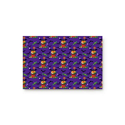 Livencher Doormat Entrance Mat Floor Indoor/Bathroom Rug Non Slip,Halloween Bat Cup Cake and Candy 15.7-Inch by 23.6-Inch