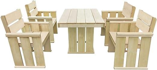 LD Muebles de Jardín de 5 Piezas Madera de Pino Madera Essgruppe Asiento Grupo Mobiliario de jardín: Amazon.es: Jardín