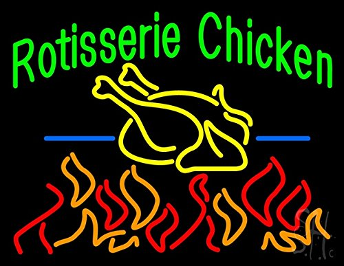 """Rotisserie Chicken Clear Backing Neon Sign 24"""" Tall x 31"""" Wide"""