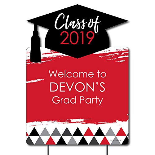 Personalized Red Grad - Best is Yet to Come - Party Decorations - Custom Red 2019 Graduation Party Welcome Yard Sign