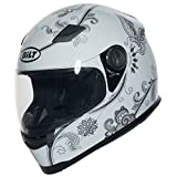 BILT Women's Gem Full-Face Motorcycle Helmet - MD, White/Silver