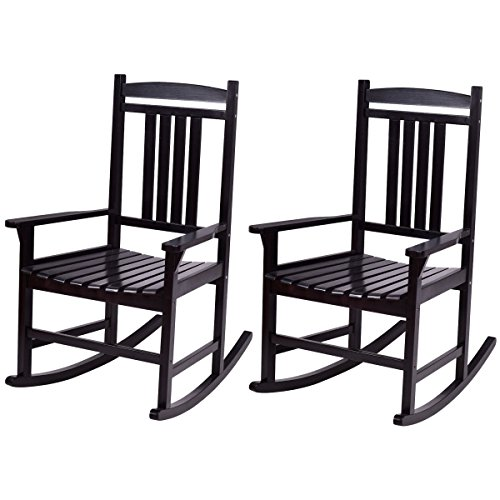 (Giantex Set of 2 Wood Rocking Chair Outdoor Indoor Patio Porch Rocker for Porch, Patio, Living Room, Black)