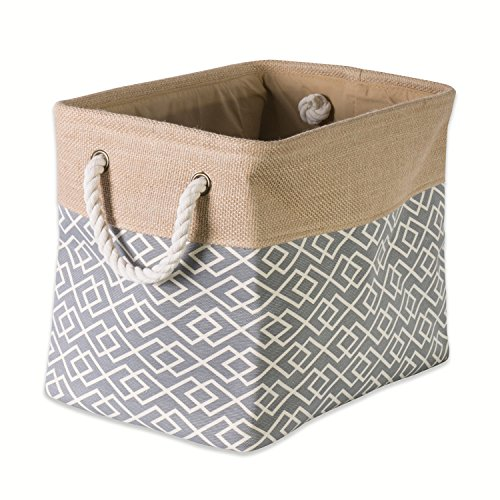 DII Collapsible Burlap Storage Basket or Bin with Durable Cotton Handles, Home Organizational Solution for Office, Bedroom, Closet, Toys, & Laundry (Medium - 16x10x12), Diamond Gray (Basket Burlap)