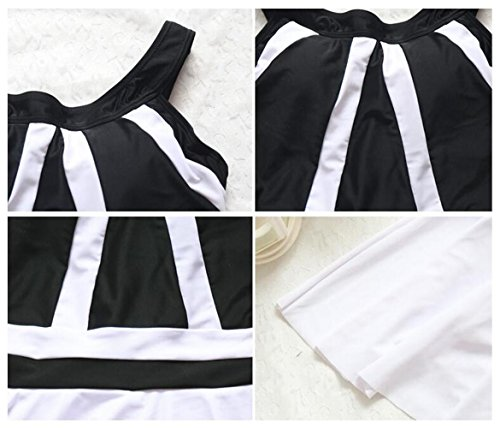 Traje de Baño Blanco y Negro del Traje de Baño del Vestido de la Nadada de las Mujeres , black , m