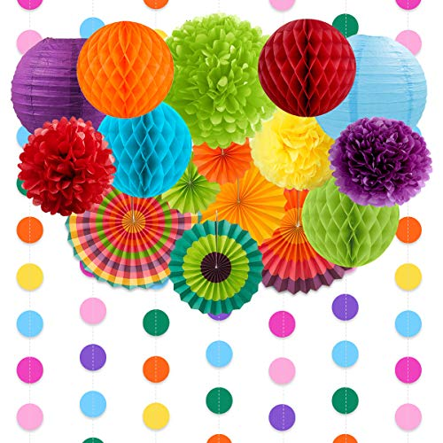 NICROLANDEE Fiesta Party Decoration, Mexican Style Fan Tissue Pom Poms Lantern Polka Dot Garland Decoration for Wedding Bridal Shower Carnival Cinco De Mayo Party