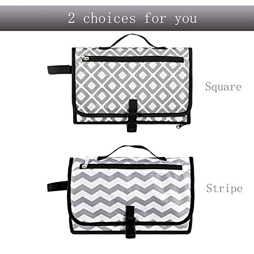 Portable Baby Changing Pad, Built-in Pillow Waterproof Diaper Bag Baby Travel Changing Station Shows Boy Girls Gift for New Mom, Gray square