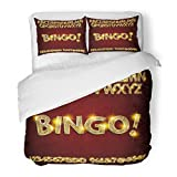 SanChic Duvet Cover Set Yellow Gold Bingo Golden Glowing Alphabet and Numbers on Dark for Your Graphic Design Letter Decorative Bedding Set with 2 Pillow Shams Full/Queen Size