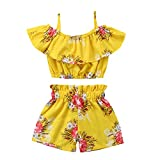 #4: Toddler Baby Girl Floral Halter Ruffled Outfits Set Strap Crop Tops+Short Pants 2 PCS Clothes Set