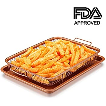 Amazon Com Copper Crisper Tray Set As Oven Oil Free Air Fryer Non