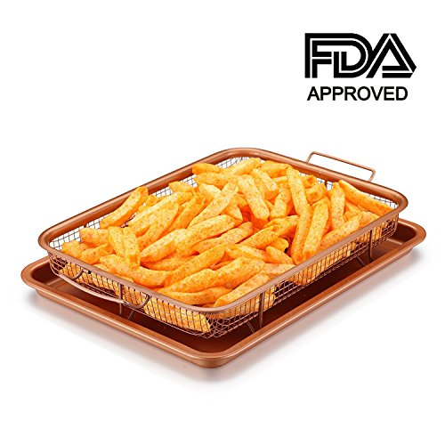 Copper Crisper Tray Oven Air Fryer Pan by windaze