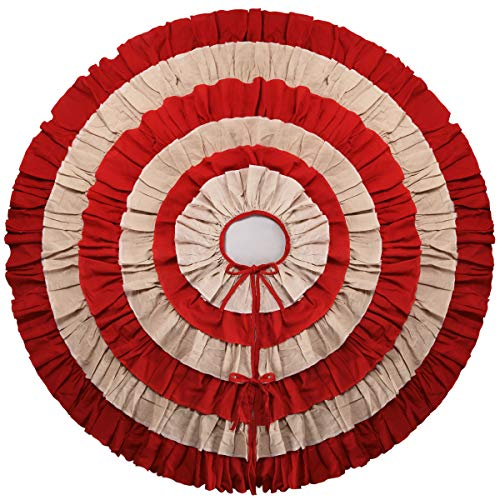 yuboo Ruffle Christmas Tree Skirt, 50 inches Linen& Red Burlap 6-Layer Rustic Xmas Tree Holiday Decorations (Skirt Christmas Tree Red Burlap)