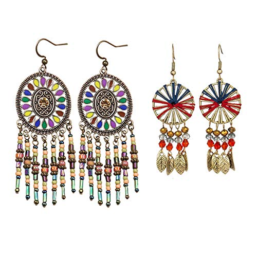 COMMINY 2 Pairs Bohemian Vintage Dangle Drop Earrings, Ethnic Seed Bead Metal Pendant Earrings Set Boho Chic Jewelry for Women Girls ()