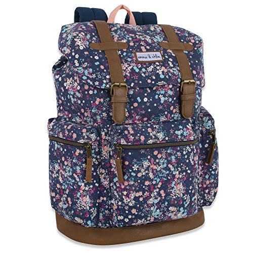Drawstring Buckle Backpack for Women with Magnetic Straps - Top Flap Backpack Purse and School Bag for Girls (Floral)