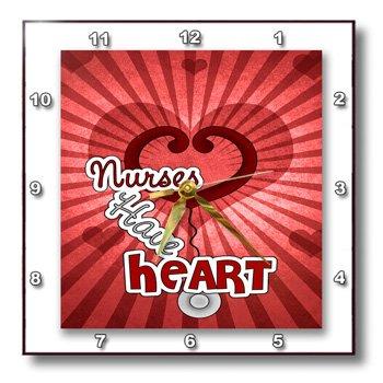 dpp_79461_1 Doreen Erhardt Nurses Collection - Nurses Have Heart red hearts with sun burst and stethoscope - Wall Clocks - 10x10 Wall Clock