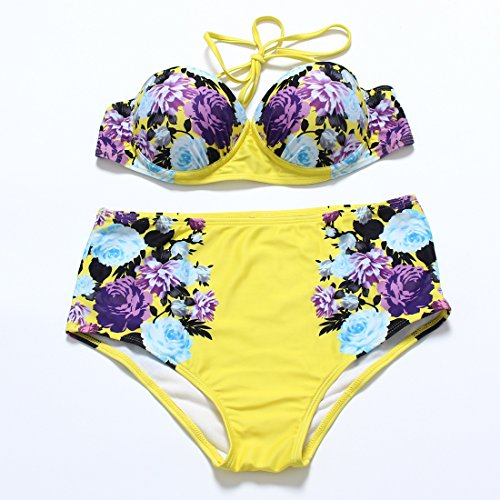YONGYI Europa y el elegante y bikini sello Lomo superior Sra. flores perfumes bañador de dos piezas traje de baño dividida con resorte caliente Bikini Amarillo