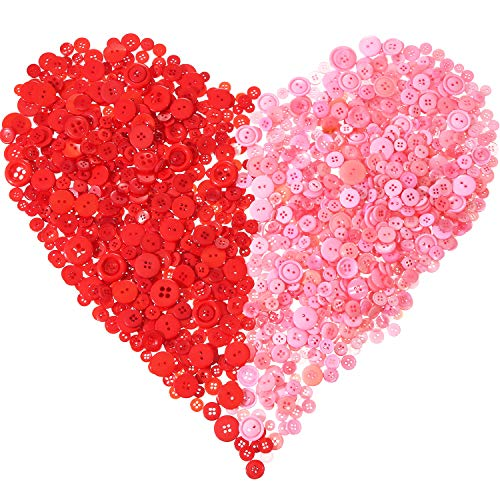 Tatuo 1000 Pieces Valentines Buttons Round Craft Resin Buttons for Crafts Sewing Valentines Day Decorations, 2 Holes and 4 Holes (Red and Pink)