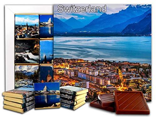 DA CHOCOLATE Candy Souvenir SWITZERLAND Chocolate Gift Set 5x5in 1 box (Panoramic Prime)(2301) (Best Dark Chocolate In Switzerland)