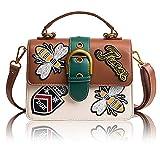 Beatfull Retro Embroidery Shoulder Bag for Women, Bee Crossbody Bag Handbag (brown)