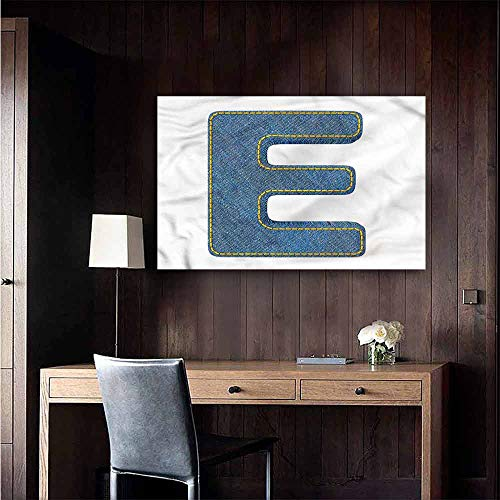 Gabriesl Waterproof Art Wall Paper Poster Letter E Denim Blue Jeans E Restaurant Wall Size : W36 x H24