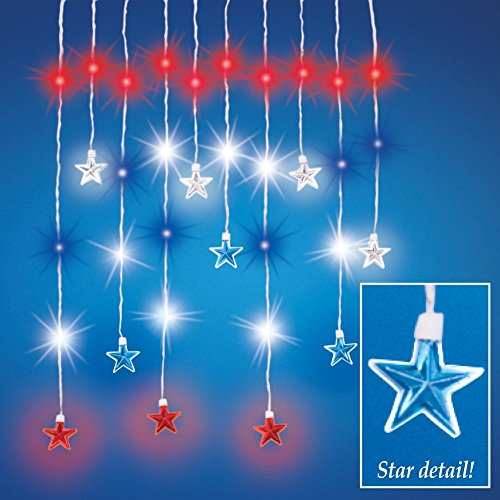 Blue Barn Feeder (Hanging Patriotic Star String Lights 4th of July Americana Decor)