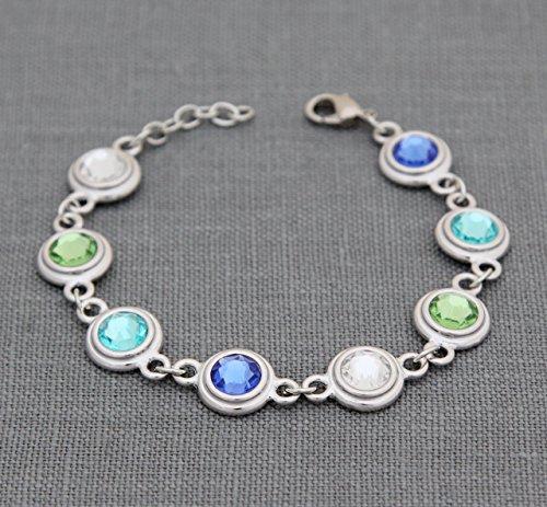 Personalized Grandma Bracelet, Custom Birthstone Jewelry, Gift for Grandmother Mother, with Swarovski Crystal Family Birth Months