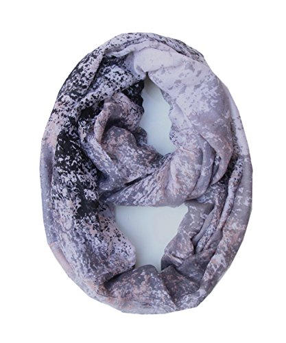Lucky Leaf Women Lightweight Cozy Infinity Loop Scarf with Various Artist Print (Floral Black)