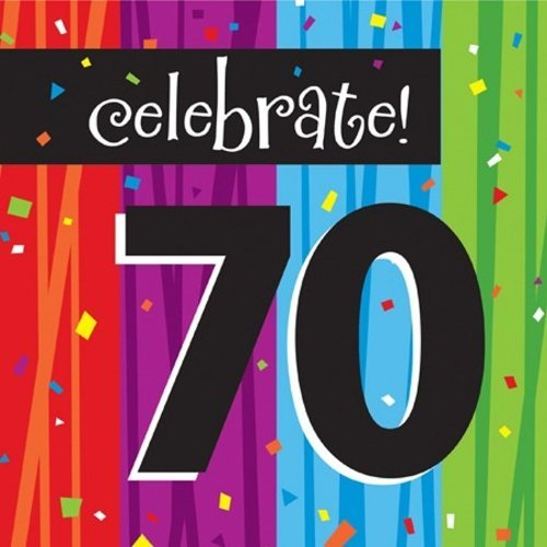 Creative Converting Milestone Celebrations Luncheon Napkins, Celebrate 70 (Value Pack: 48 (Celebration Luncheon Napkins)