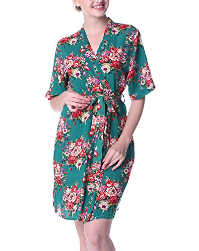 Juntian Womens Floral Cotton Short Lightweight Kimono Robes Bride and Bridesmaid Nightgown,Green,X-Small