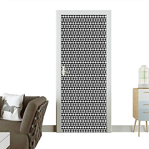 Homesonne Decorative Door Decal Squares Plus Signs Modern Symmetrical Grid Pattern Embellishment Art Black White Stick The Picture on The doorW23.6 x H78.7 INCH - Gingerbread Embellishments