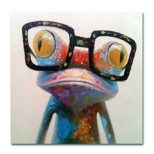 V-inspire Art, 32X32Inch, Oil Painting Modern Art Happy Frog Painted by Hand on Canvas Stretched Ready to Hang Wall Decoration Great Gift for Home Decor