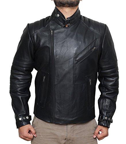 Fjackets Biker Style Side Zipper Black Real Leather Jacket for Him M (Gang Biker Jacket)