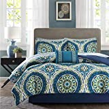 TL 9 Piece Navy Green Intricate Medallion Printed Comforter Set Cal King California, Teal Light Green Blue Circle Floral Design Adult Bedding Master Bedroom Reversible Bohemian, Cotton Polyester
