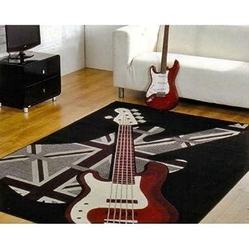 Boys Rock Guitar Rug, 120x160cm. Retro UK MAINLAND POSTAGE ONLY.