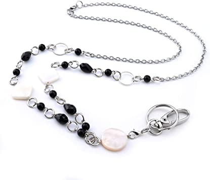 Details about  /BLACK SATIN BEADS FLOWER PENDANT BEADED LANYARD ID BADGE HOLDER NECKLACE