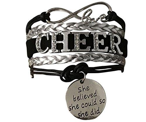 Cheerleading Bracelet, Cheer Gifts- Cheer Jewelry- Cheer Bracelet- Adjustable Cheer She Believed She Could Charm Bracelet- Gift For Cheerleaders, Cheer Teams & Cheerleading Coaches
