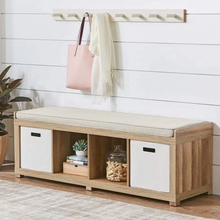 Better Homes and Gardens 4-Cube Storage Organizer Bench – Weathered Weathered Weathered
