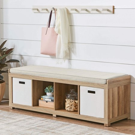 Beige-Toned Faux Linen Upholstered Cushion 4-Cube Organizer Bench in Weathered ()