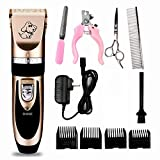 Pet Hair Trimming Clippers Kit Set, Hoosen Rechargeable Cordless Dogs and Cats Grooming