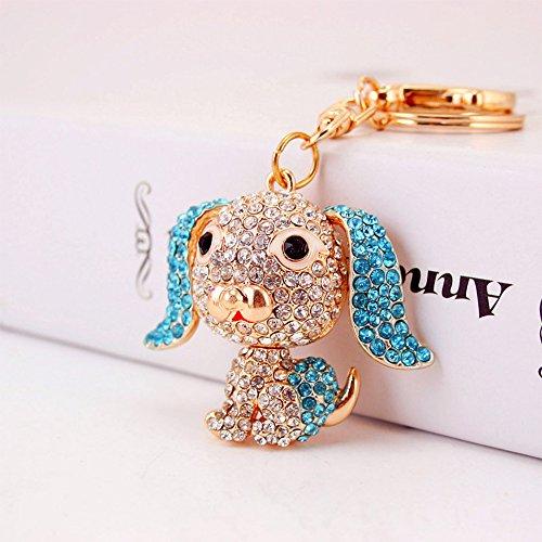 Jzcky Shzrp Lovely Big Ear Dog Crystal Rhinestone Keychain Key Chain Sparkling Key Ring Charm Purse Pendant Handbag Bag Decoration Holiday Gift(Blue) ()