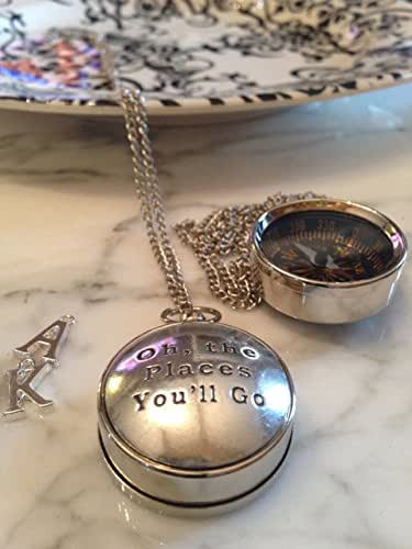 Working Compass Necklace Dr. Seuss Oh the Places You'll Go