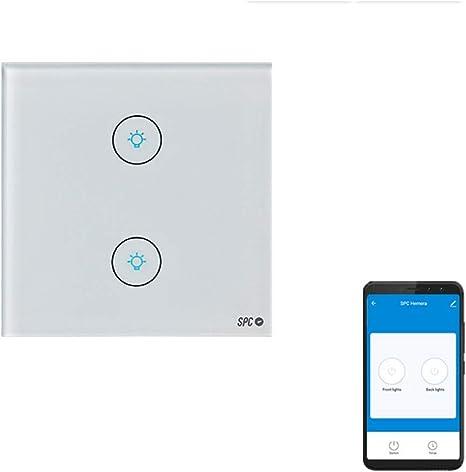SPC Hemera – Interruptor Inteligente Wi-Fi de Pared 2 Gang Compatible con Amazon Alexa, Google Home, Blanco.: Spc-Internet: Amazon.es: Electrónica
