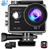 JEEMAK 4K Touchscreen Action Camera Wifi, 16MP Waterproof Sports Camera,Underwater Camcorder DV with 2 Battery and 27pcs Accessories Kit