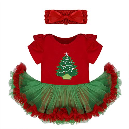 FEESHOW Newborn Infant Baby Girls Christmas Outfit Costumes Fancy Dress Romper Tutu Skirt with Headband Set Set (Red Green Xmas Tree, 9-12 Months)