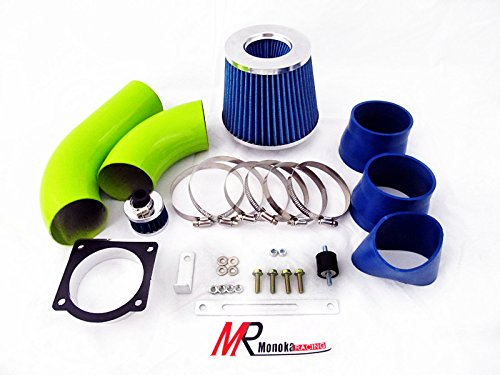 01 02 03 Ford Explorer/Ranger/Sport Trac 4.0L V6 SOHC Green Piping Cold Air Intake System Kit with Blue Filter (Green Filter Cold Air Intake)