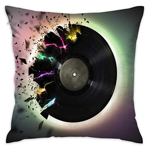 Mr.Roadman Cool Music Disc Art Pillowcase - Zippered Pillow Case Cover, Pillow Protector, Best Throw Pillow Cover - Standard Size 18x18 Inch, Double-Sided Print Pillowcase Covers