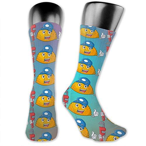 SARA NELL Men & Women Classics Crew Socks Plumber Homemade Pattie On The Table Cartoon Thick Warm Cotton Crew Winter Socks Personalized Gift Socks