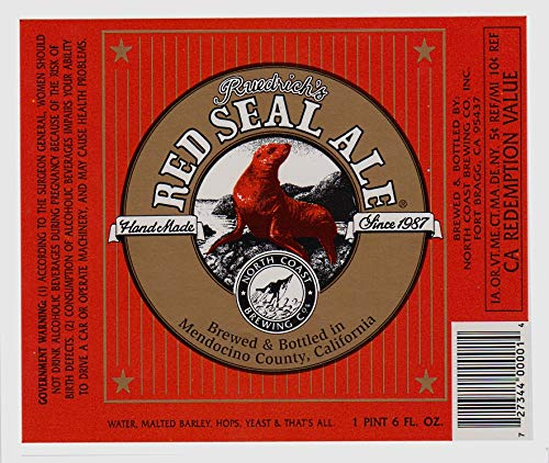 North Coast Brewing Company Fort Bragg California - Ruedrich's Red Seal Ale - Collectible Beer Bottle Labels - Set of Labels - One (North Coast Beer)