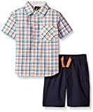 Nautica Little Boys' Two Piece Short Sleeve Woven Shirt with Pull On Bottom, Sail Cream, Medium(5/6)